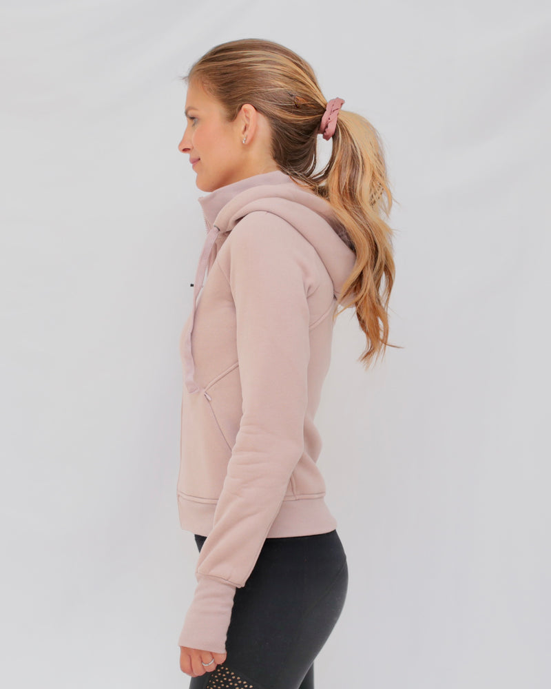 "The ""Dietra"" Bomber Sweatshirt Jacket in Misty Mauve - side view - recovery wear clothing"