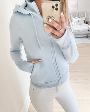 dietra bomber sweatshirt jacket in powder blue - recovery wear clothing