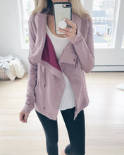 "Load image into Gallery viewer, the ""Emily"" jacket worn open in dusty rose - recovery wear clothing"
