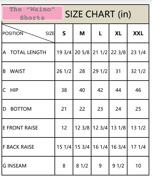 "the ""Waino"" men's shorts in blue - recovery wear clothing - size chart"