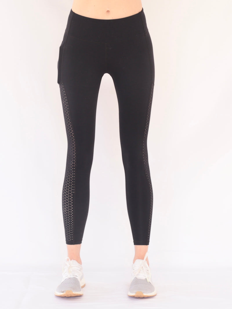 "recovery wear clothing - the ""kenny"" leggings in black - front view"