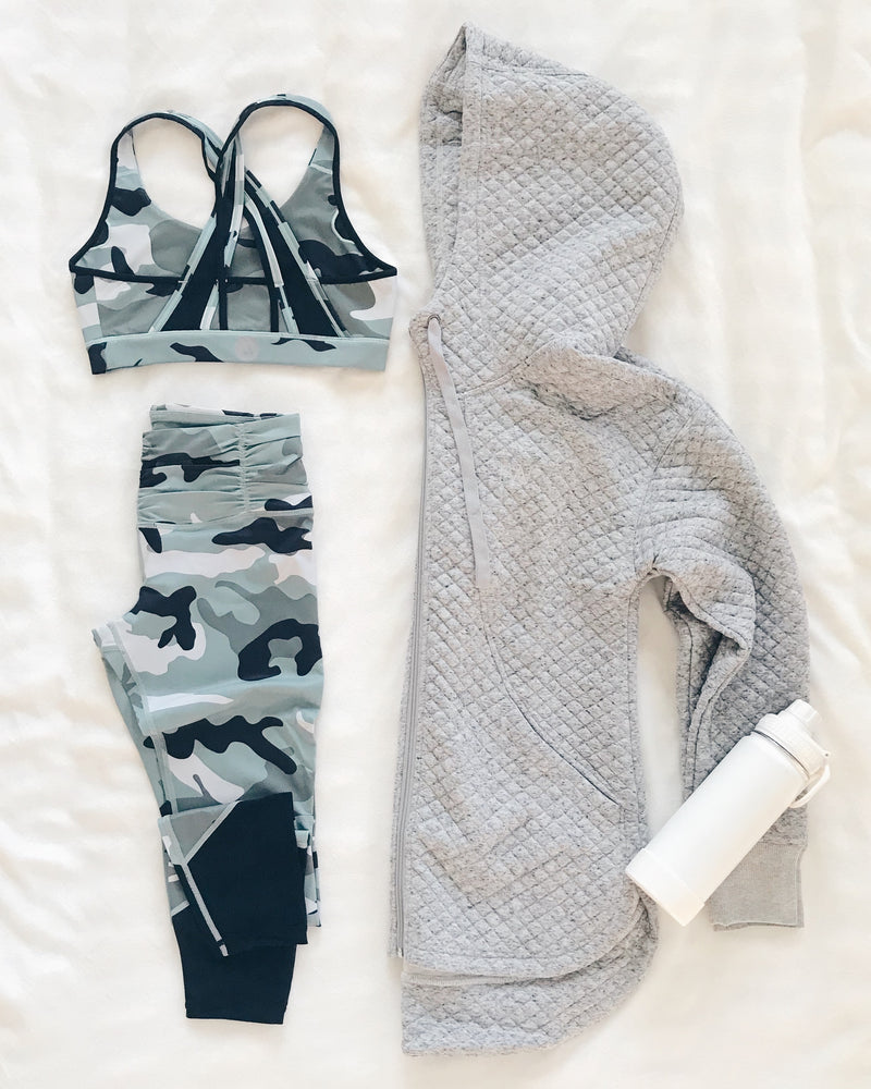 recovery wear clothing camo sports bra and leggings