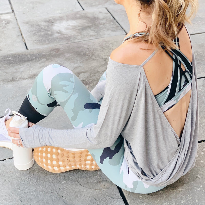 recovery wear clothing matching camo sports bra and leggings