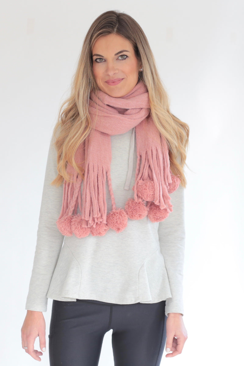"The ""Brittany"" Cozy Pom Pom Scarf"