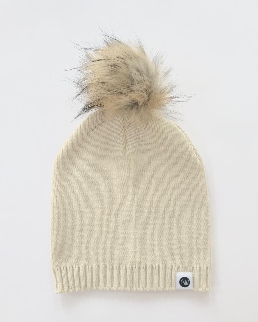 "recovery wear clothing the ""drew"" beige slouchy pom beanie"