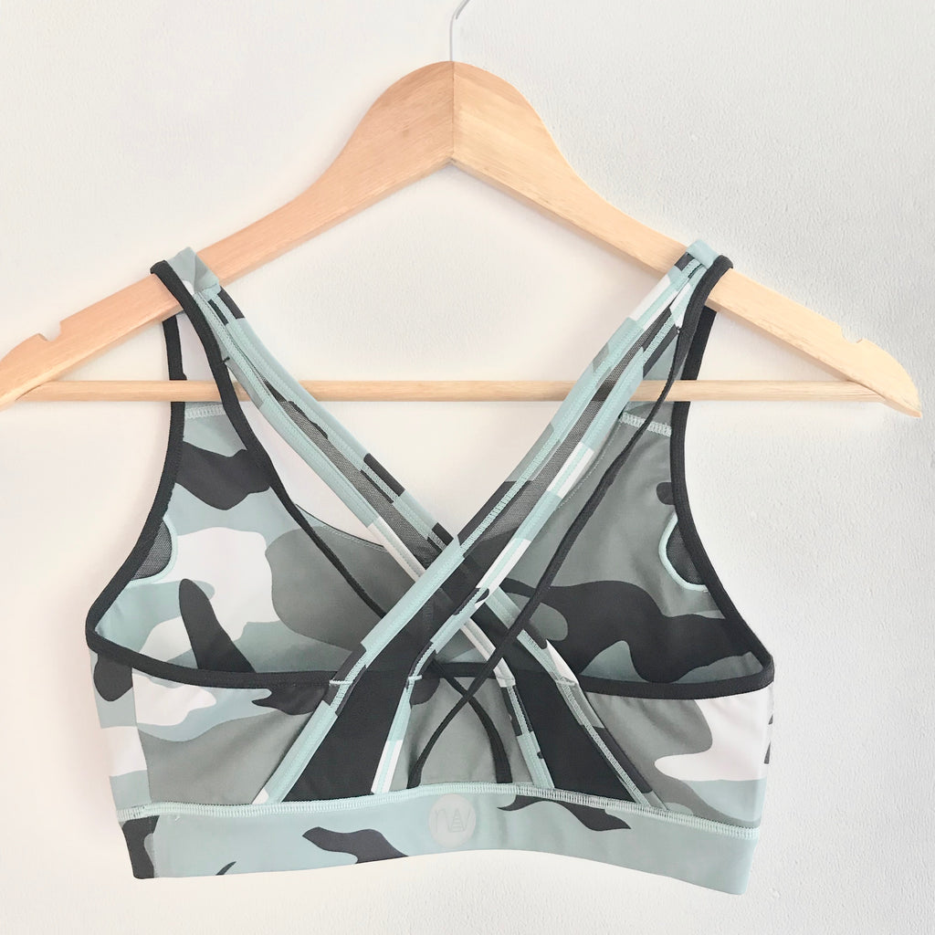 "the ""Vanessa"" camo sports bra - back view - recovery wear clothing"