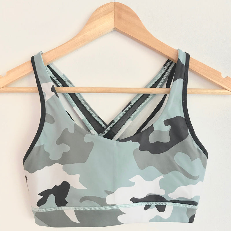"the ""Vanessa"" camo sports bra - front view - recovery wear clothing"
