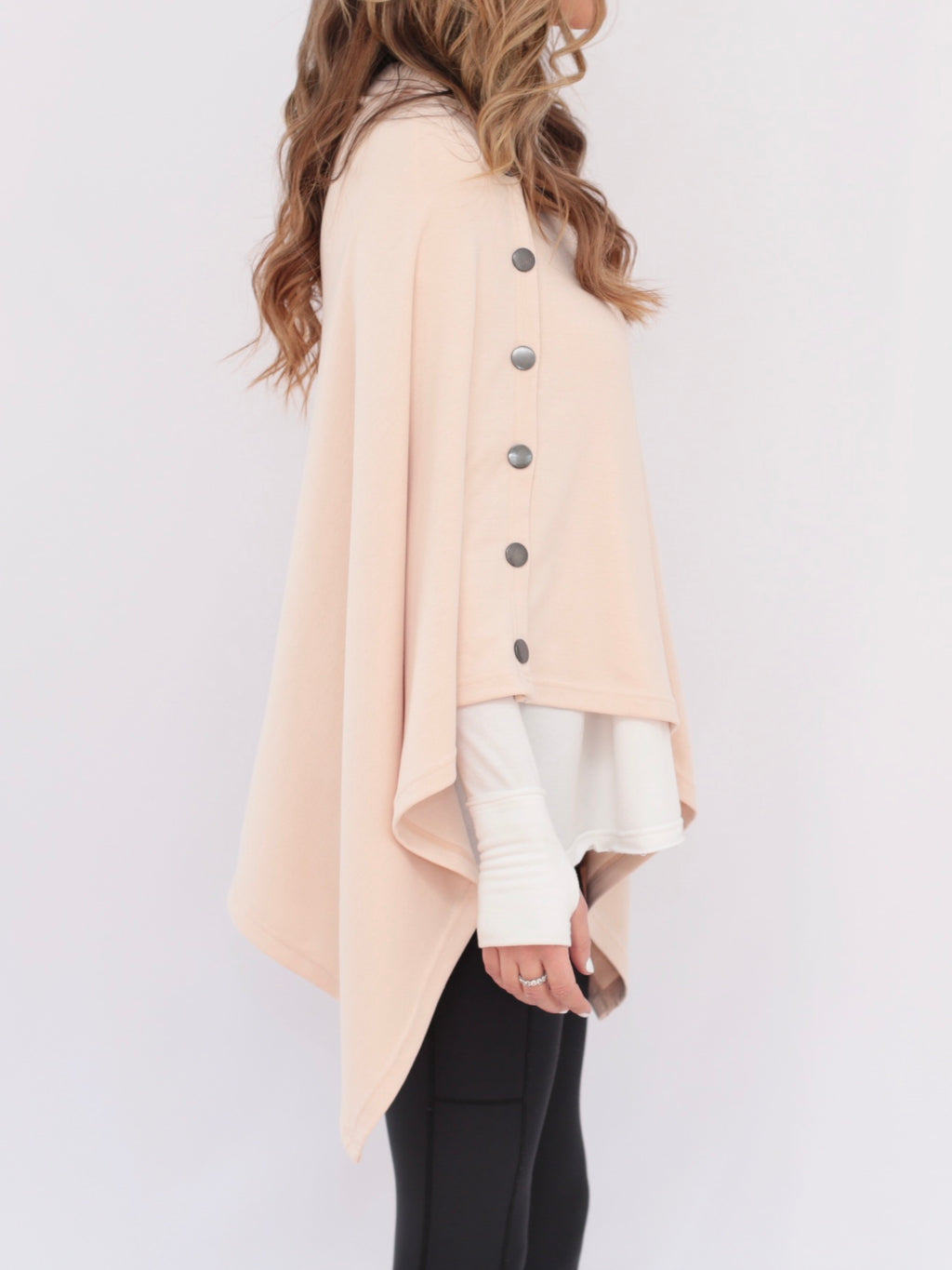 "side view - petal pink ""Hayes"" travel poncho"