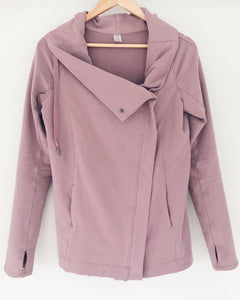 "the ""Emily"" drape front cardigan jacket in dusty rose from recovery wear clothing"