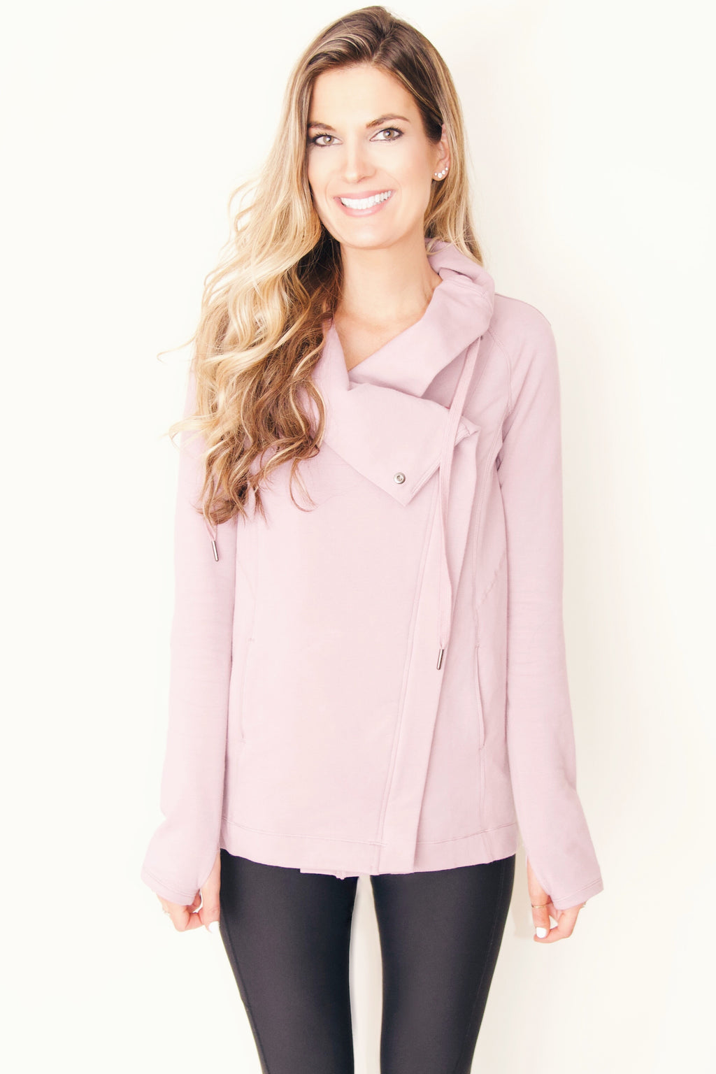 "the ""Emily"" cardigan jacket in dusty pink - recovery wear clothing jacket front"