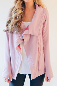 "the ""Emily"" cardigan jacket in dusty rose - recovery wear clothing jacket worn open"