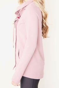 "the ""Emily"" cardigan jacket in dusty pink - recovery wear clothing jacket side view"