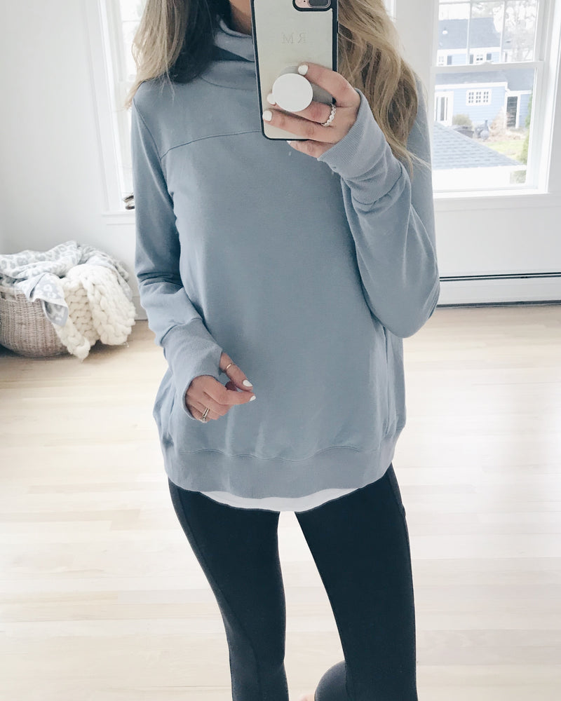"The ""Hilary"" Sweatshirt in slate blue - recovery wear clothing nursing friendly sweatshirt"