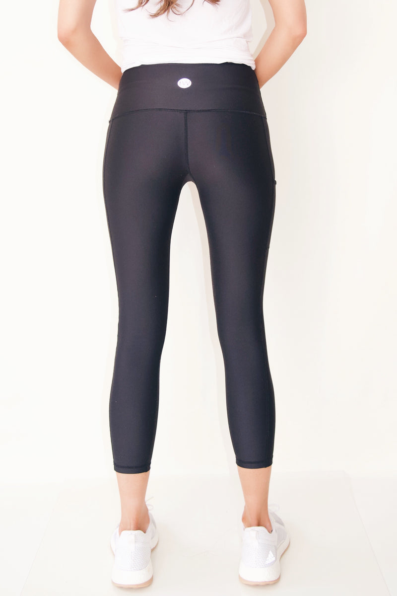 "the ""Jess"" black cell phone pocket black leggings - back view - recoverywear clothing"