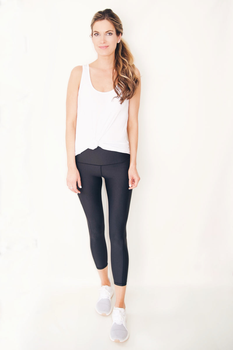 "the ""Jess"" black cell phone pocket black leggings - full length view - recoverywear clothing"