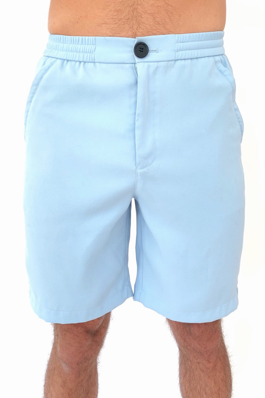 "the ""Waino"" men's shorts in blue - recovery wear clothing - front view"
