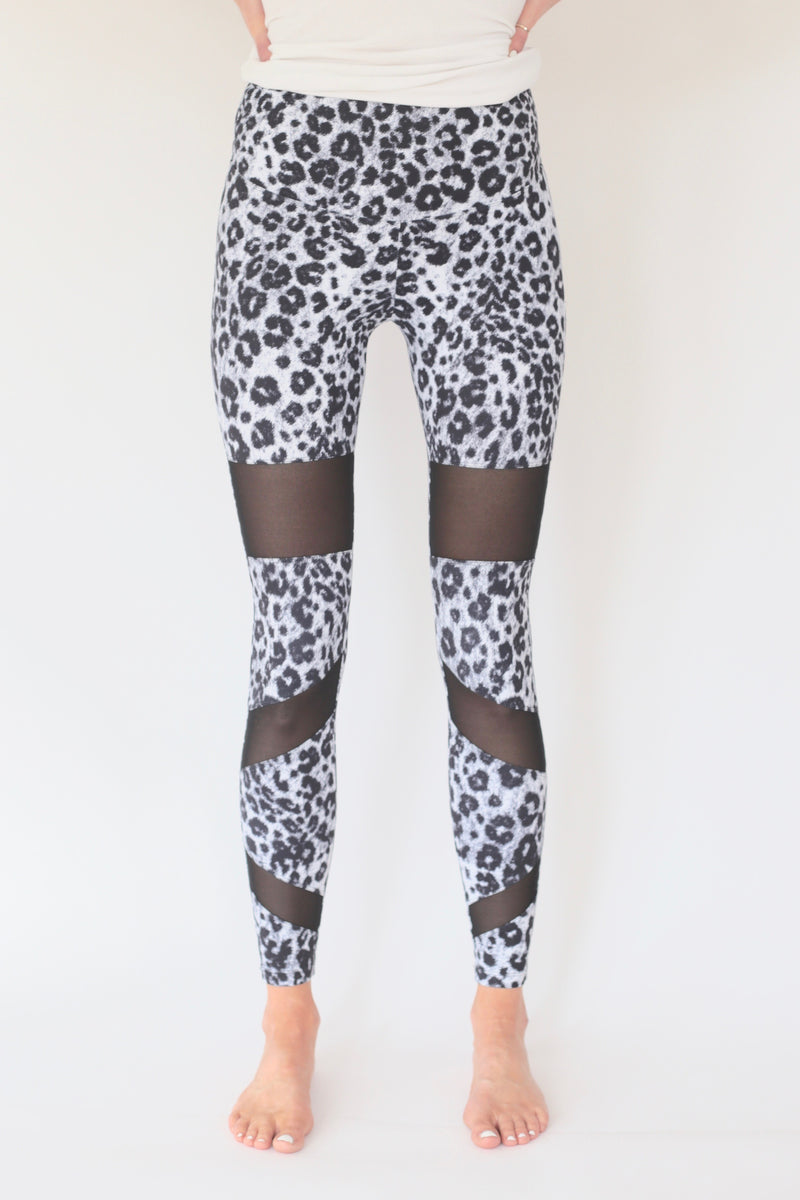 "the ""christy"" leopard leggings - front view - recovery wear clothing"