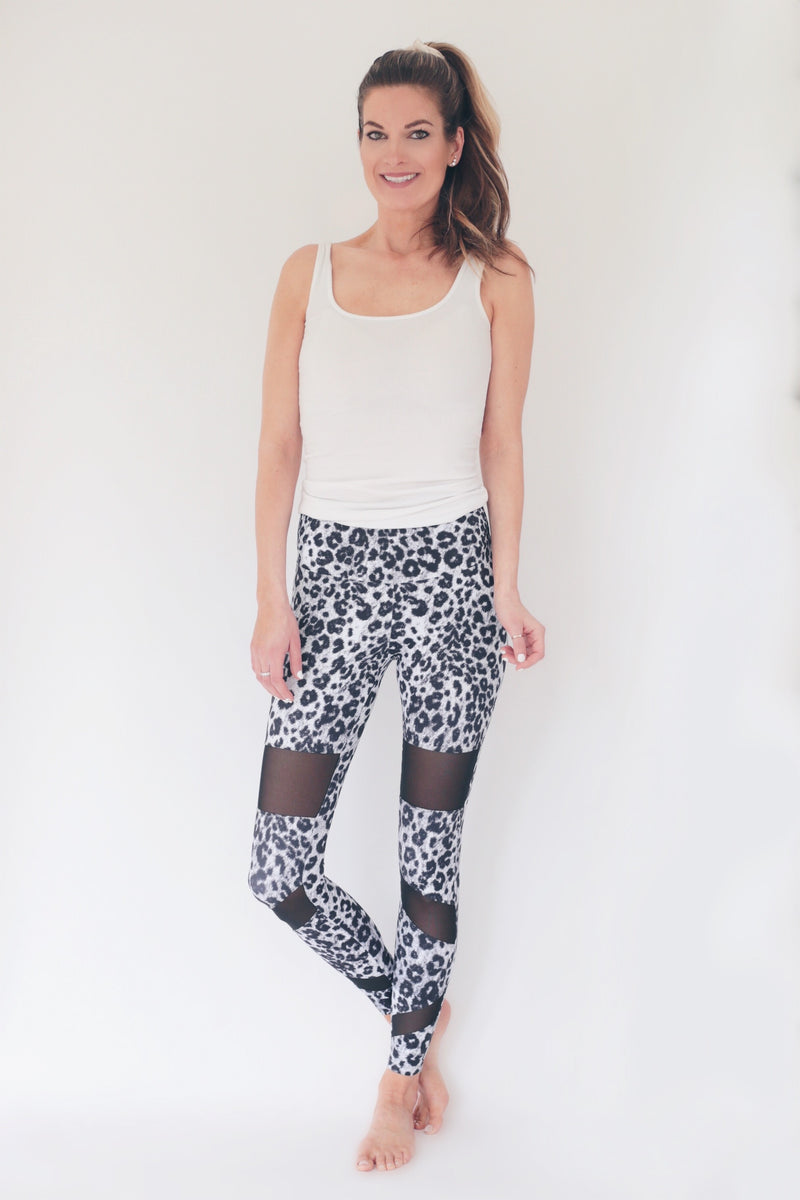 "the ""christy"" leopard leggings - full view - recovery wear clothing"