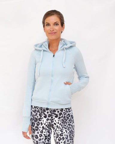 "The ""Sandy"" Quilted Sweatshirt Jacket - Heathered Blue"