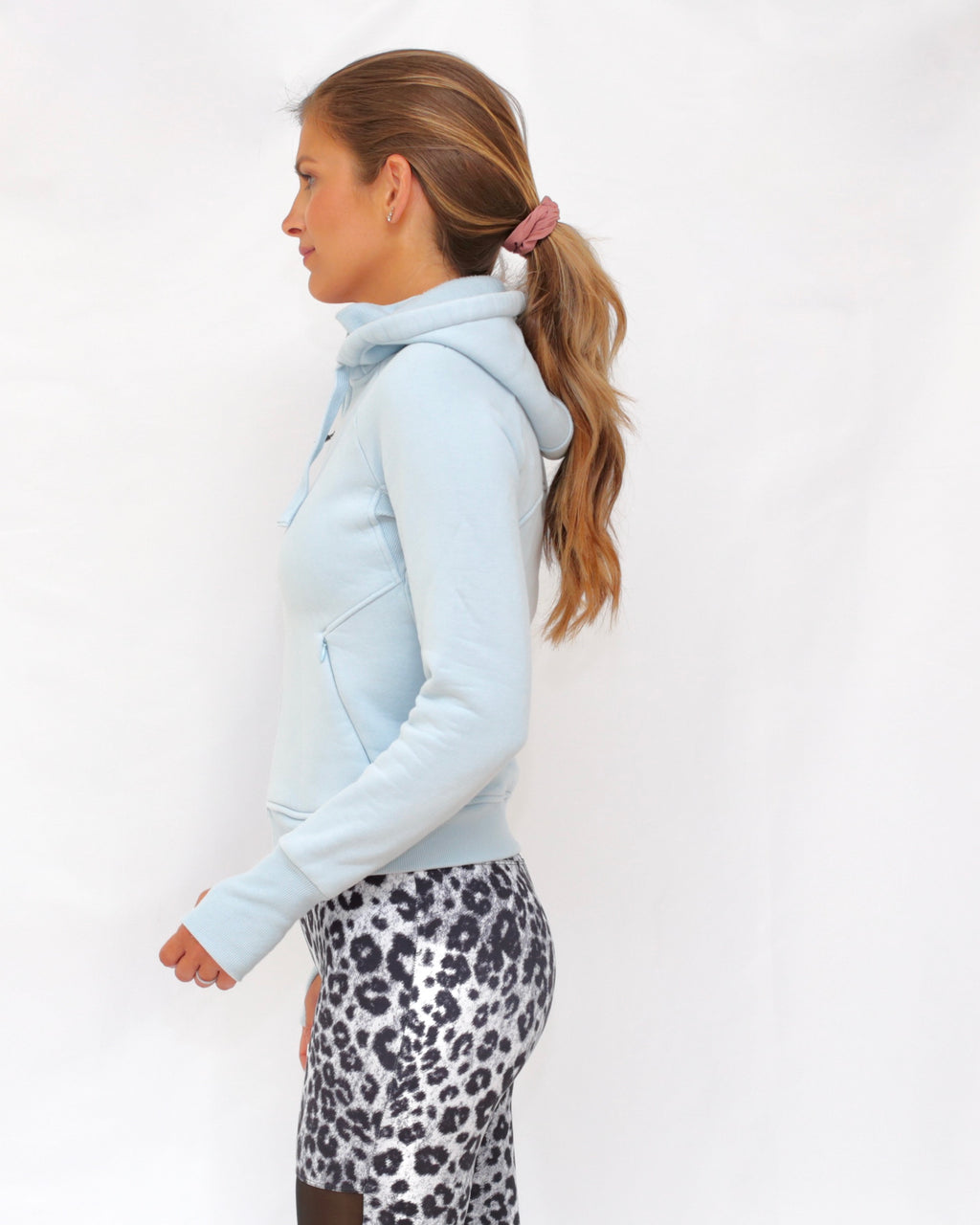 "the ""dietra"" bomber sweatshirt jacket in powder blue - side view - recovery wear clothing"