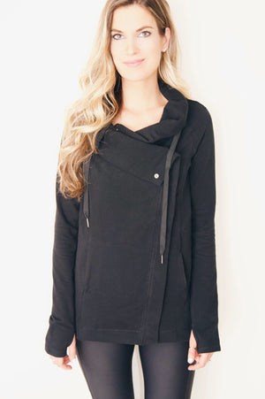"the ""emily"" cardigan jacket in black - front view - recovery wear clothing"