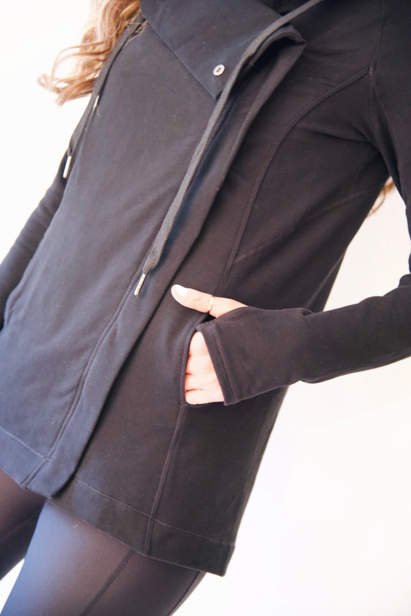 "the ""emily"" cardigan jacket in black - front pocket detail - recovery wear clothing"