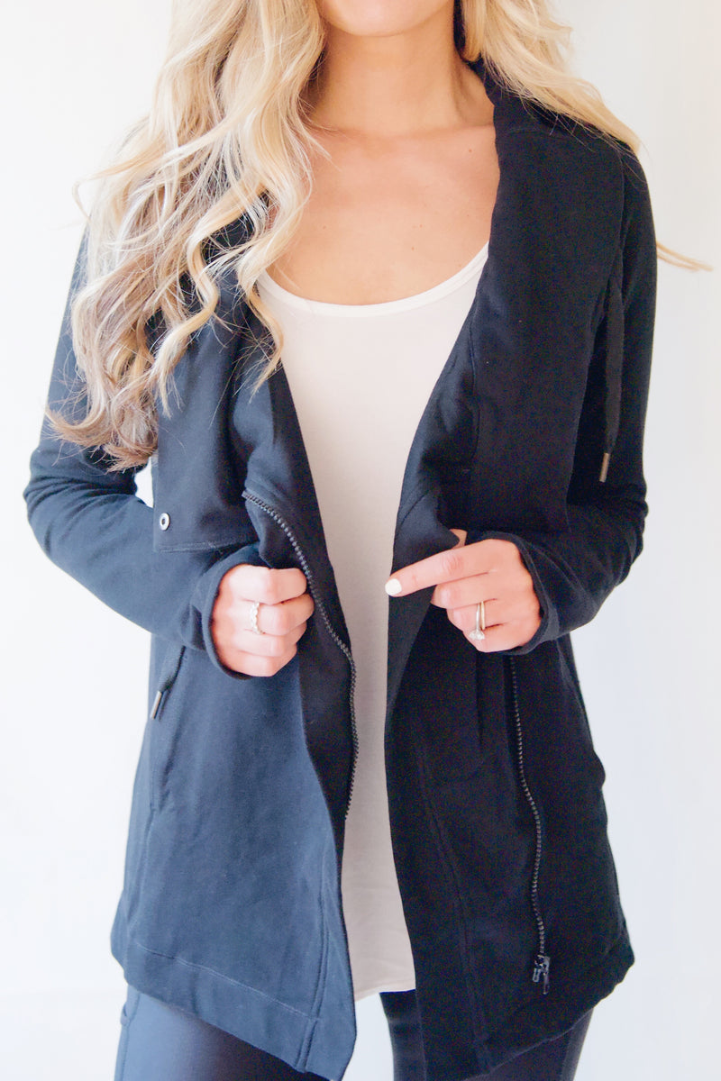"the ""emily"" cardigan jacket in black - front view worn open - recovery wear clothing"