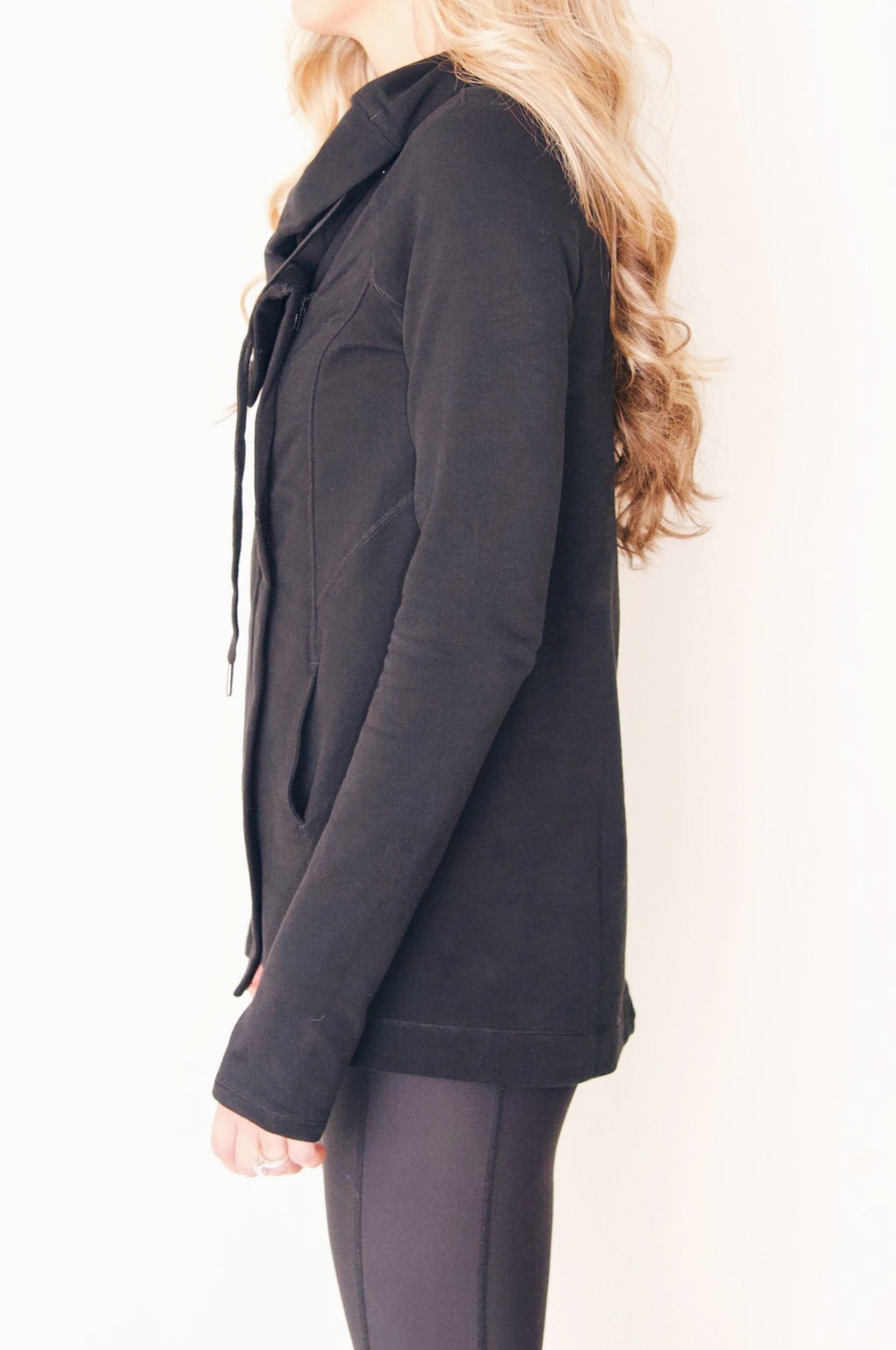 "the ""emily"" cardigan jacket in black - side view - recovery wear clothing"