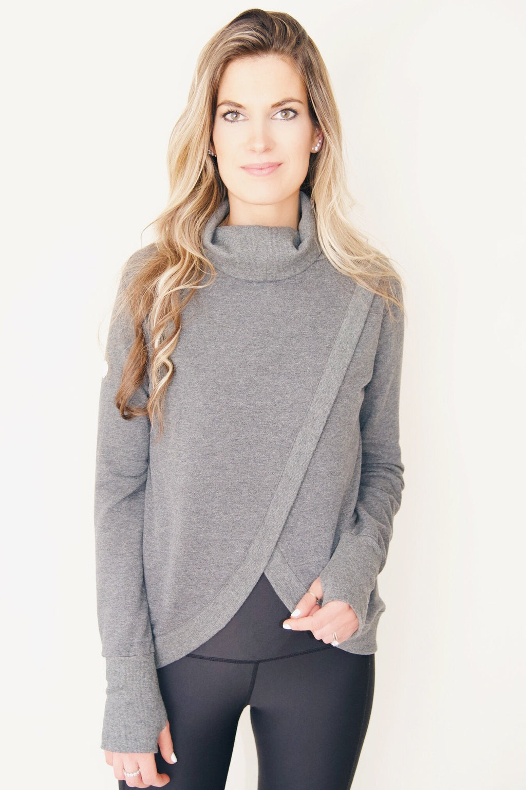 "the ""hilary"" reversible sweatshirt in charcoal gray - back side reversed - recovery wear clothing"
