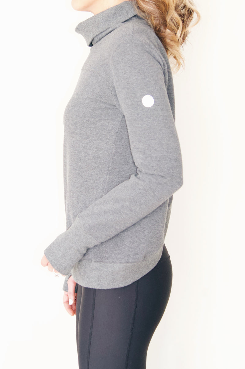 "the ""hilary"" reversible sweatshirt in charcoal gray - side view - recovery wear clothing"