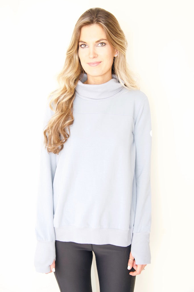 "the ""Hilary"" reversible sweatshirt in slate blue - recovery wear clothing - front view"