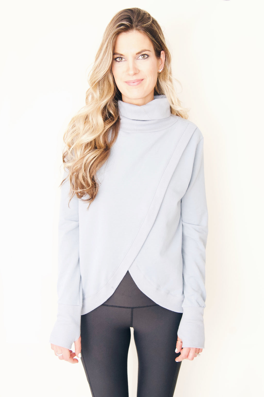 "the ""Hilary"" reversible sweatshirt in slate blue - recovery wear clothing - shown reversed"