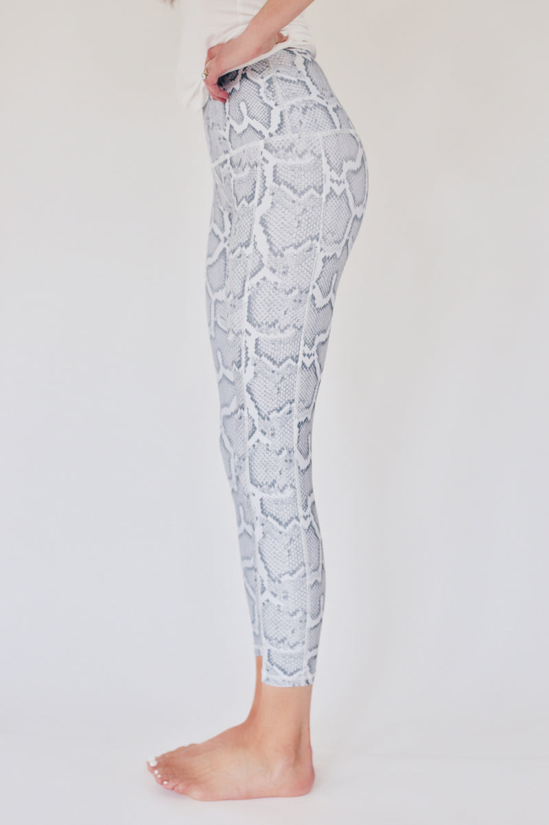 "recovery wear clothing - the ""jess"" 7/8 snakeskin leggings side view"