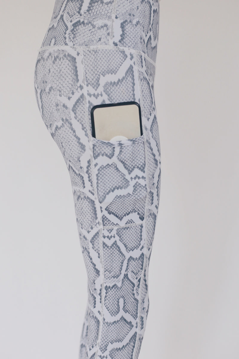 "the ""jess"" snakeskin leggings with cell phone pocket - recovery wear clothing"