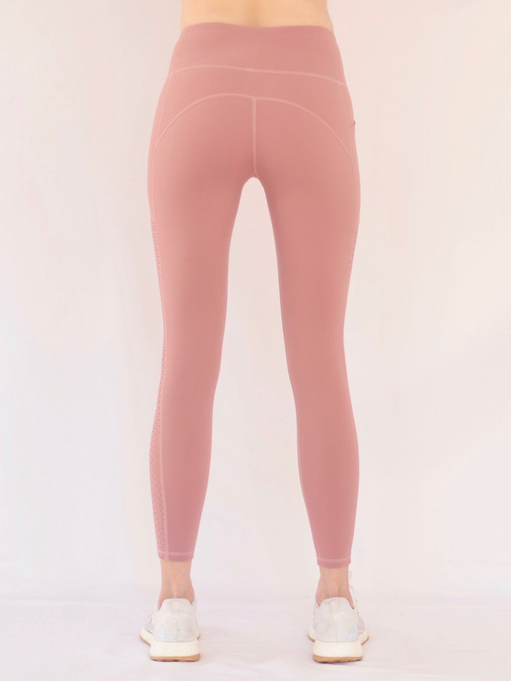 "the ""kenny"" laser cut leggings in mauve - rear view - recovery wear clothing"