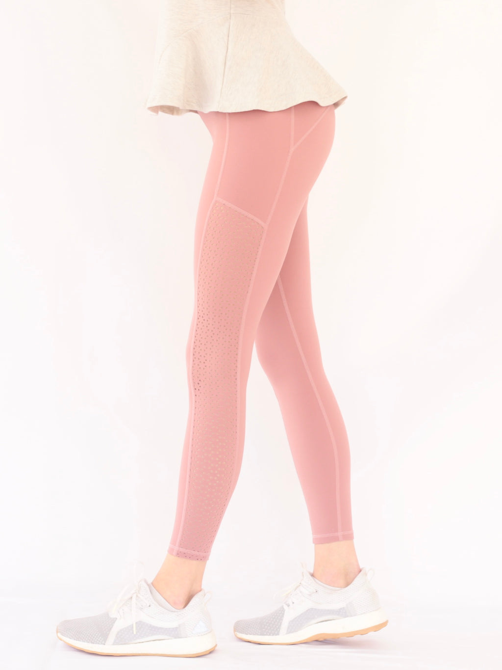 "the ""kenny"" laser cut leggings in mauve - side view - recovery wear clothing"