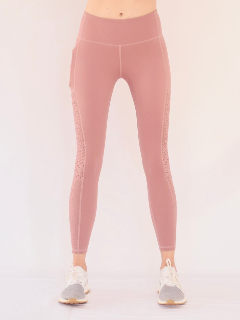 "the ""kenny"" laser cut leggings in mauve - front view - recovery wear clothing"