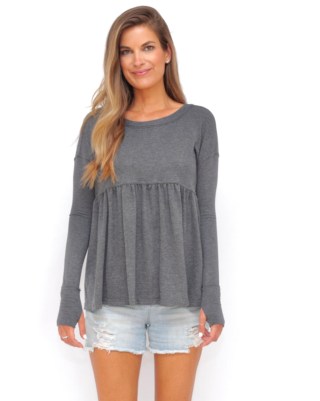 "the ""louis"" peplum top - recovery wear clothing - front view - heathered gray"