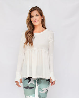 "the ""louis"" peplum top - white - front view - recovery wear clothing"