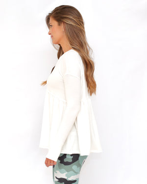 "the ""louis"" peplum top - white - side view - recovery wear clothing"