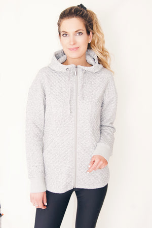 "the ""sandy"" quilted hooded sweatshirt in heathered gray - recovery wear clothing - front view"