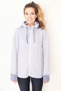 "the ""sandy"" quilted sweatshirt jacket in heathered blue - front view - recovery wear clothing"