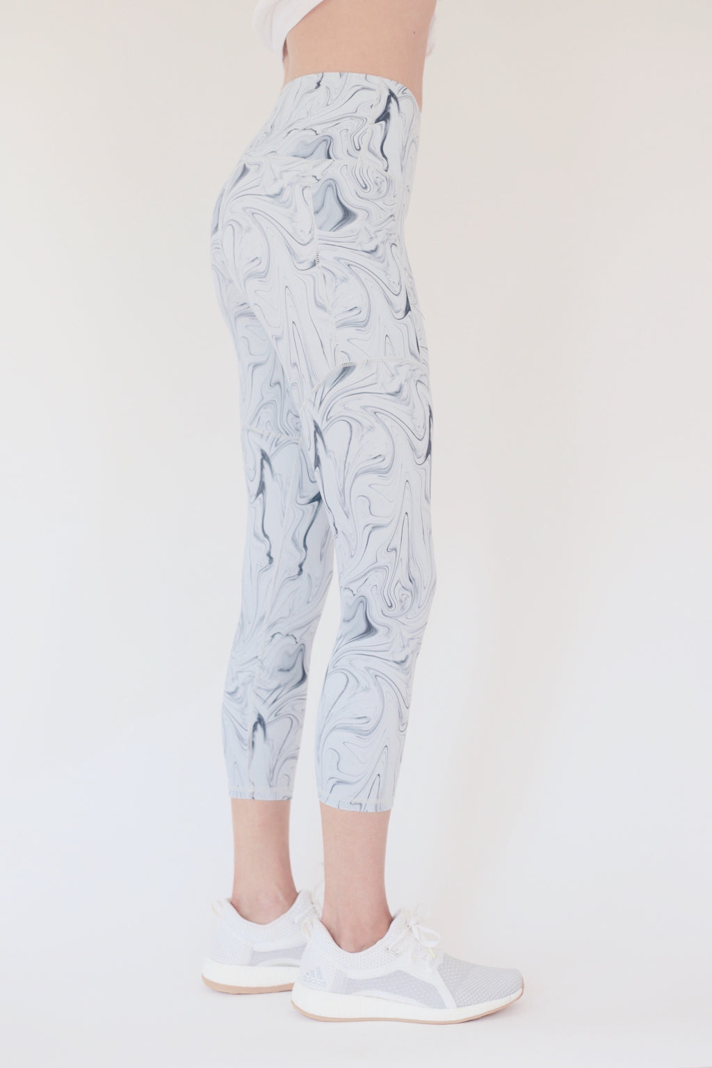 "the ""Veronica"" cell phone pocket capri leggings with swirl pattern - recovery wear clothing"