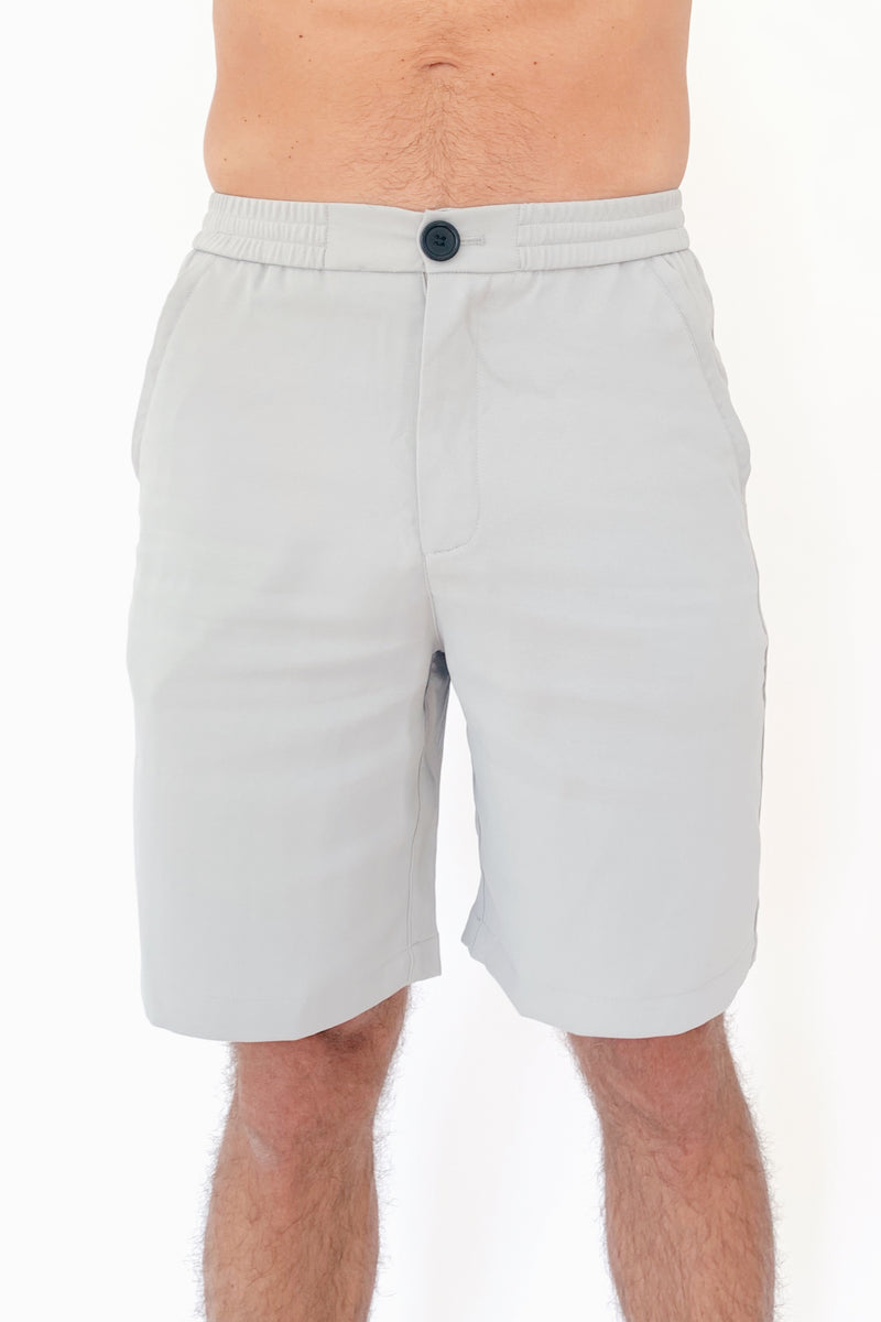 "the ""waino"" men's shorts - front view close up greige - recovery wear clothing"