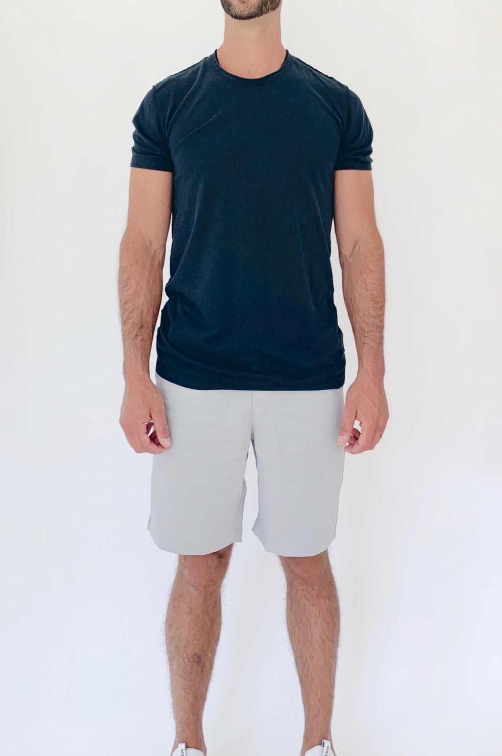 "the ""waino"" men's shorts - front view greige - recovery wear clothing"