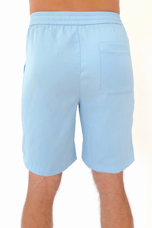 "the ""Waino"" men's shorts in blue - recovery wear clothing - back view"