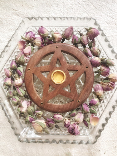 Pentacle wooden incense cone holder