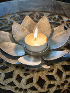 Lotus Tealight Candle Holder- Silver