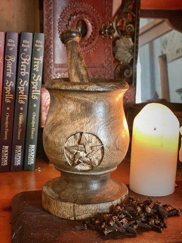 Wooden Pentacle Mortar and Pestle