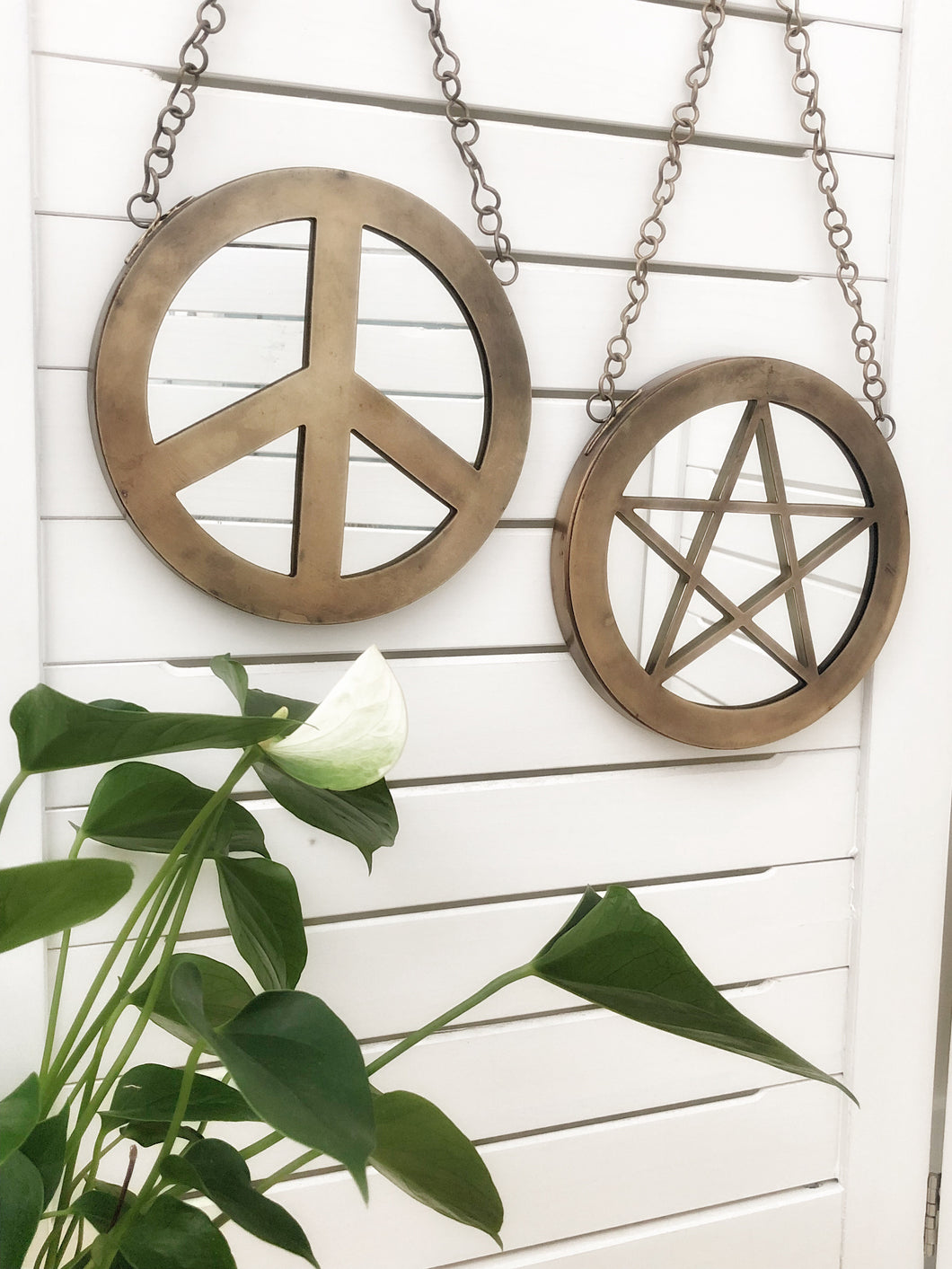 Hanging mirrors- peace and pentacle